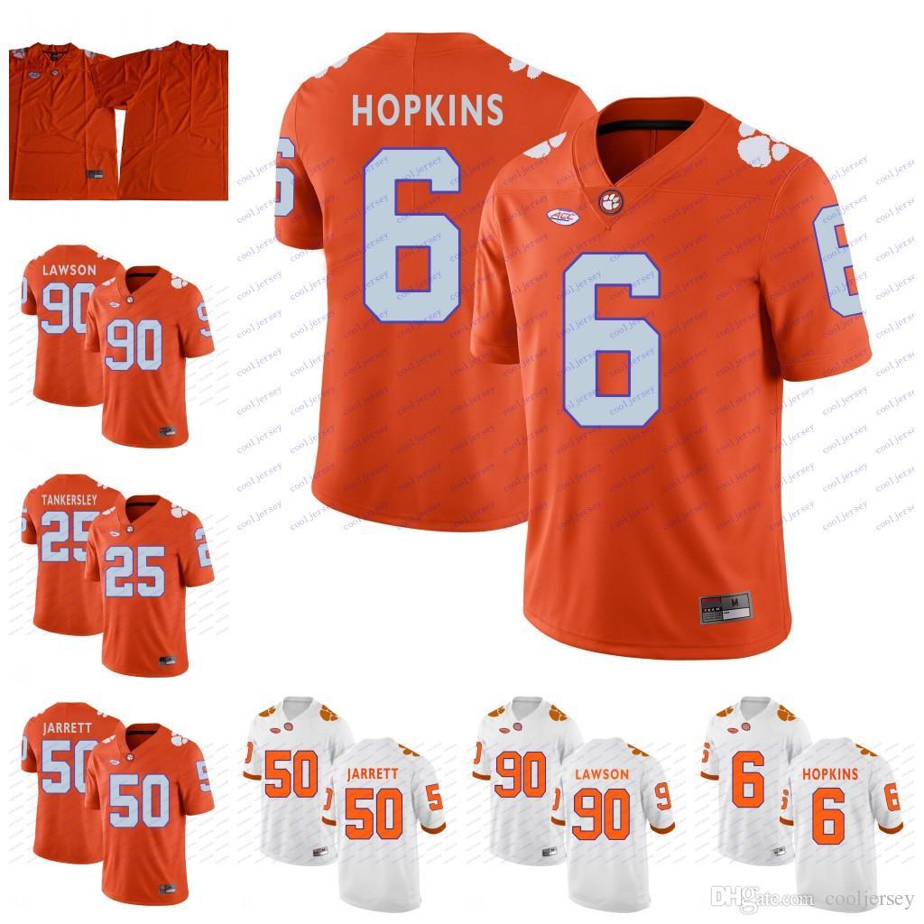 factory price 118b7 7baa8 NCAA Clemson Tigers College Football #6 DeAndre Hopkins 50 Grady Jarrett 25  Cordrea Tankersley 90 Shaq Lawson Orange Purple White Jerseys