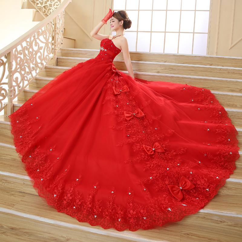 compre vestidos de novia 2018 china vestido de encaje rojo para boda