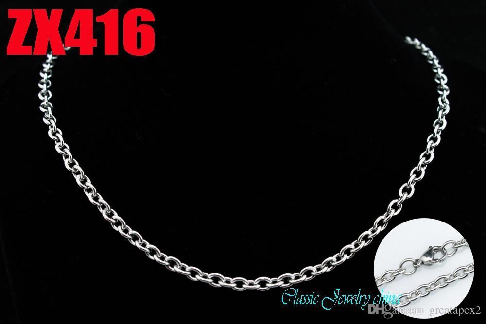 O envio gratuito de mais tamanho de aço inoxidável 4.5mm elíptica cadeia do anel aberto dos homens em forma de O colar de presente cadeias ZX416 34-40 polegada 20 pçs / lote