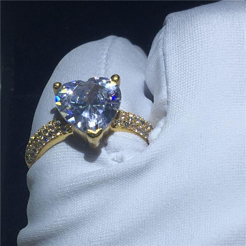 Классическая форма сердца кольцо из желтого золота заполнены 3t Sona Cz камень обручальное кольцо обручальное кольцо для женщин свадебный Fingre ювелирные изделия