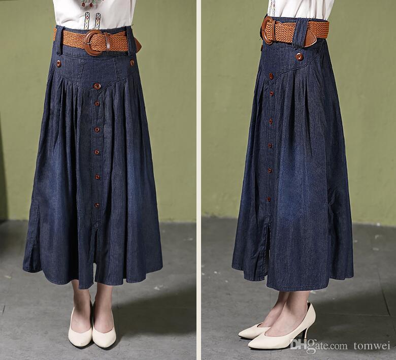 Высокая талия Длинные юбки женщин Maxi джинсы Юбки с поясом плиссированные джинсовые юбки Кнопка Большой размер S M L XL XXL 3XL 4XL 5XL 6XL 2018