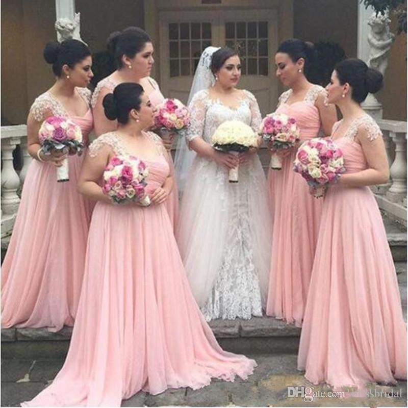 Elegante Pink Capped vestidos de dama de honor con volantes Top largo gasa vestido de estilo Country Beach Maid Of Honor vestidos de boda Formal Wear