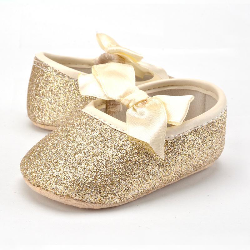 de9a8619da3a3a 2019 Infant Girl Shoes Babies Princess Bow Sequins Prewalker Newborn  Moccasins Shoes Bling Soft Sole Toddler Footwear Crib Shoes From  Faithritalau888