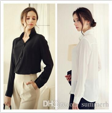 a6123e1f25 2019 Apparel Women S Clothing Fashion Plus Size Sexy Woman Casual Female  Shirt Blouse Chiffon Tops Elegant OL Turn Down Solid Tee Cloth A1 From  Summerh