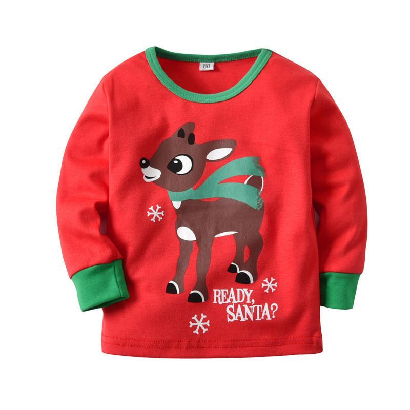 94e75386ed22 Christmas Kids Baby Pajamas Set Elk Deer Pajama Striped Plaid ...