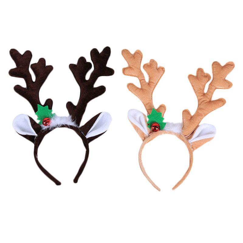 1f78b9fe1afb2 Kid Adult Big Reindeer Antlers Horn Hair Hoop Christmas Headband With Bell  Party Black Hair Accessories Flowers Hair Accessories From Deve