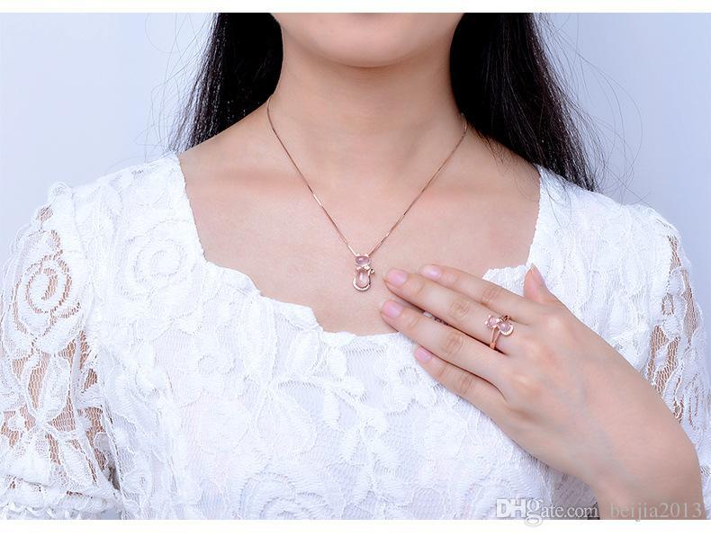 Frete grátis cor de rosa de ouro bonito gato ross quartzo rosa opala jóias colar conjuntos de anel para as mulheres meninas presente das crianças choker