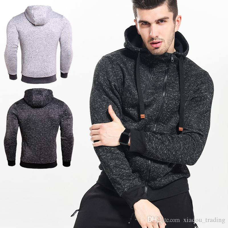 fcfe415c0 2019 New 2018 Autumn Winter Fashion Hoodies Men Double Zipper Slim  Sweatshirts Male Solid Casual Hooded Jacket Male Black Casual Pullover From  ...