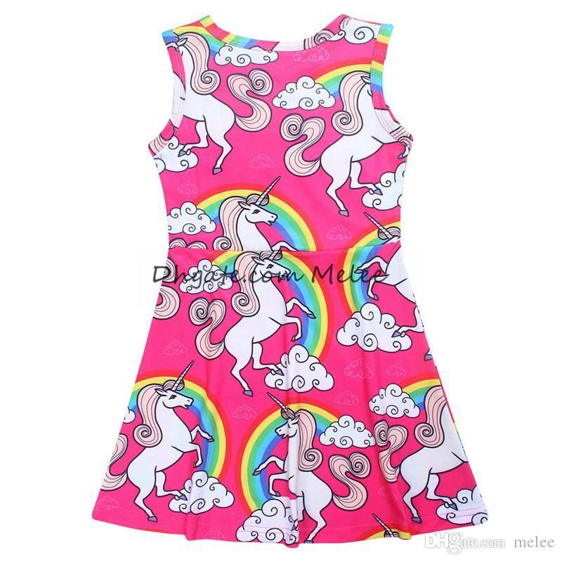 INS Girls Verano Unicornio Impresión completa Vestidos Full Rainbow Clouds Algodón Casual Vestido Princesa Vestidos Vestido de fiesta Ropa para niños 4-10Y