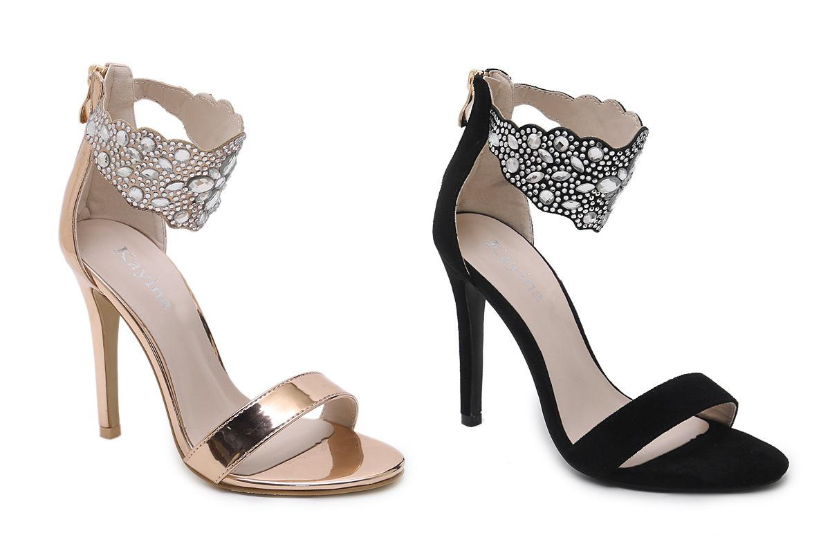dbcdb28e339 High Heel Beautiful Sandals 2018 Summer New Leisurely Sexy Rhinestone Women  Black Champagne Shoes 35 40 Code Sandals High Heels From Iwalkers07