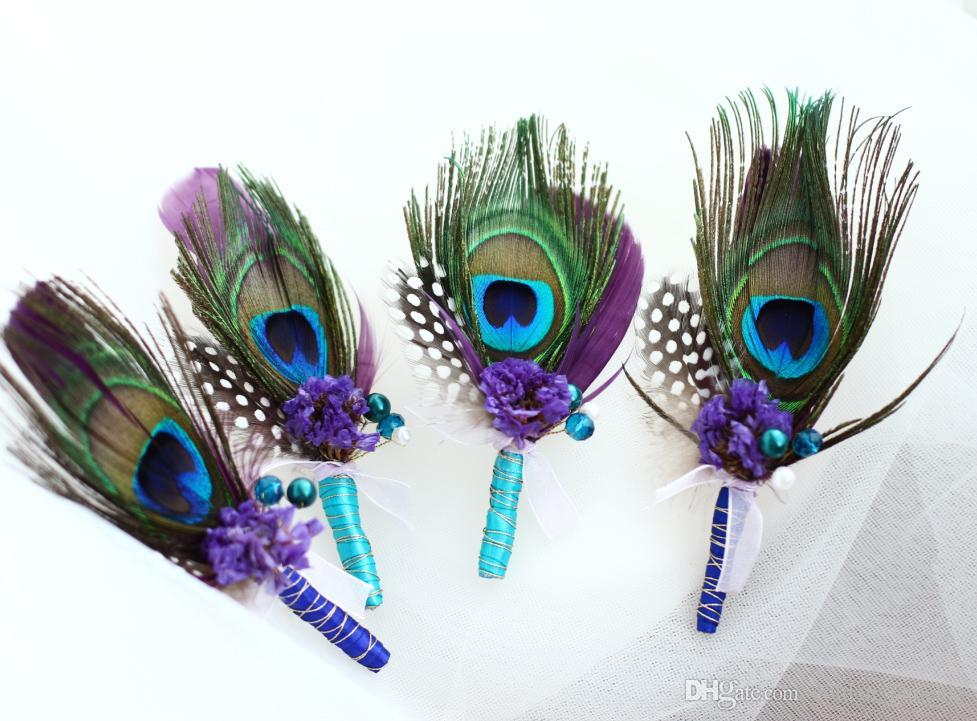 Custom wedding groom groom silk flowers peacock feathers dried flowers pearl men's corsage purple blue banquet corsage