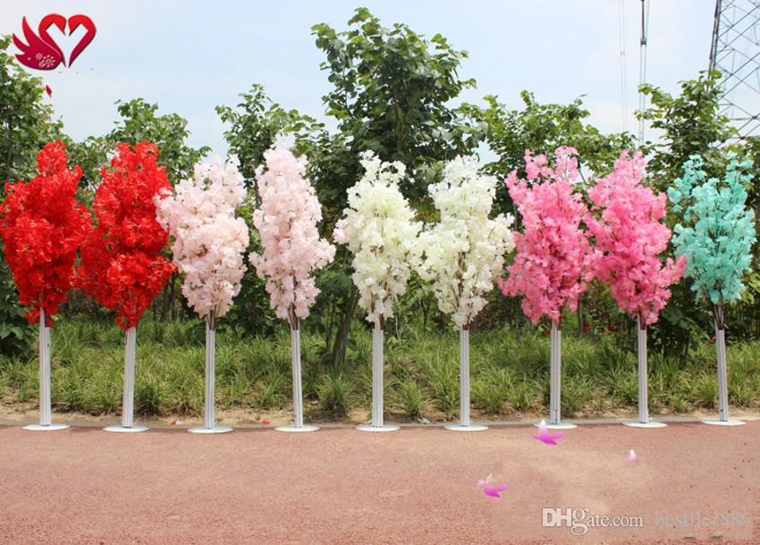 1.5M 5feet Height white Artificial Cherry Blossom Tree Roman Column Road Leads For Wedding Mall Opened Props