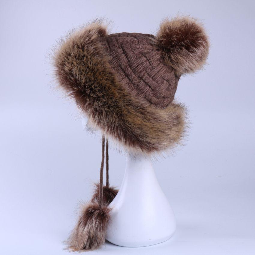 c674fb06ec797 Faux Fox Fur Ushanka Russain Cossack Fluffy Pompom Bomber Hats ...