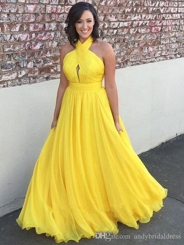 Abiti da sera lunghi in chiffon giallo brillante Prom Dresses 2019 Halter Keyhole Open Back Abiti da cocktail sexy Abiti da sera
