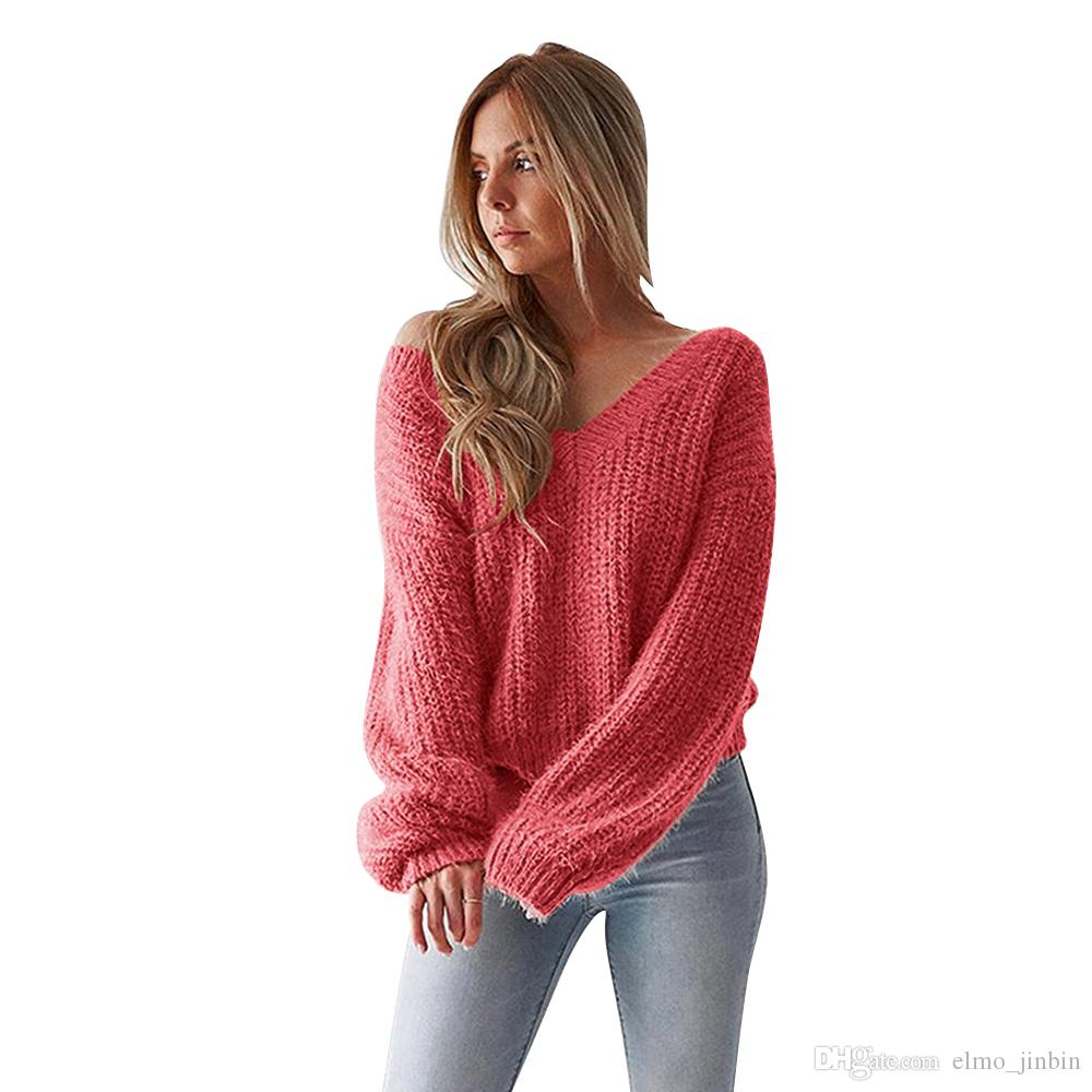 f9eb992850 2019 2018 Autumn Winter Sweaters Women Fashion Warm Pullover Women Knitted  Sweater Female V Neck Long Sleeve Loose Sweater Knitted SJ3037 From  Elmo jinbin
