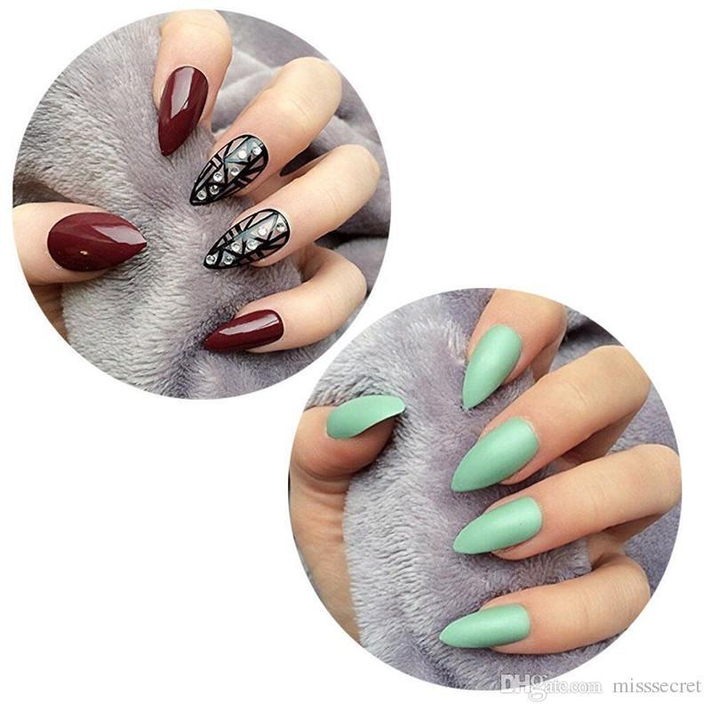 100 teile / satz Falsche Nägel Acryl Nägel Weiß Beige Klar Gefälschte Nägel Kurze Lange DIY Künstliche Nail art Tipps Mit Kleinkasten