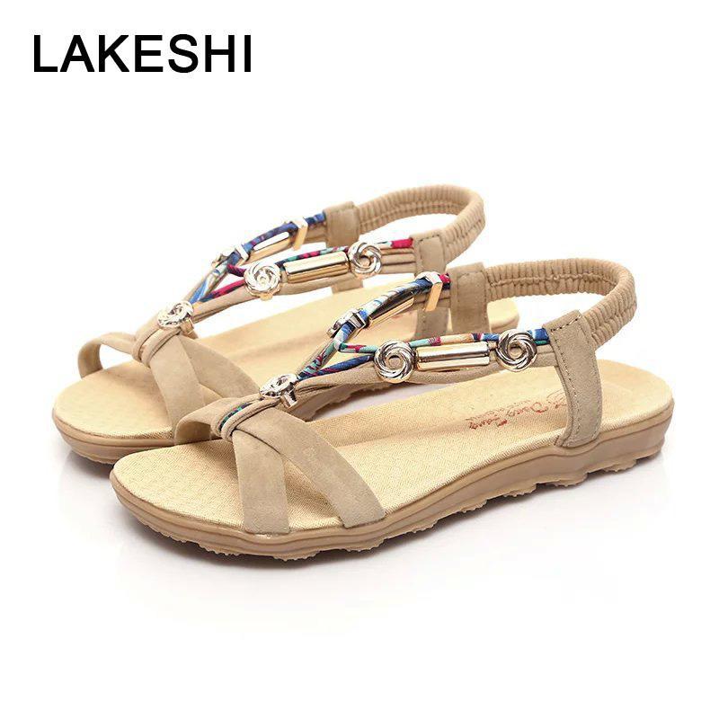 Acheter Lakeshi Femmes Sandales Femmes Plat Sandales Bohème Flip Flops  Chaussures D été Dames Chaussures Plates Rouge Casual Plage De  38.12 Du  Beasy111 ... 34143a612ab1