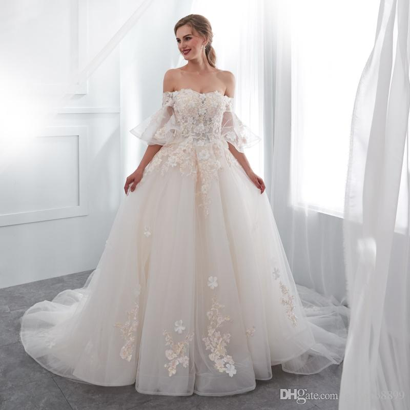 Discount Real New 2018 Garden 3D Flowers Off Shoulder Short Sleeves Arabic Wedding  Dresses Modest Lace Up Corset Bridal Dresses Country Wedding Gowns Custom  ... 72fa3686cb7f