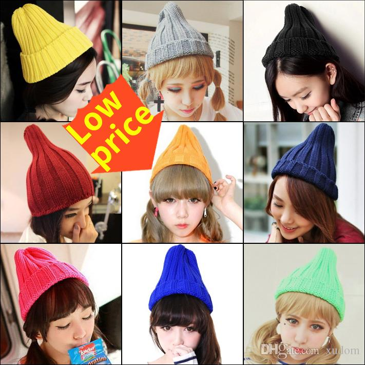 23cc37b8726 Wholesale New Autumn And Winter Hats Knitted Beanie Casual Cap Warm Hats  Bonnet Girl Hip Hop Candy Color Skullies Hat For Women Men Knitted Hats  Knit Cap ...