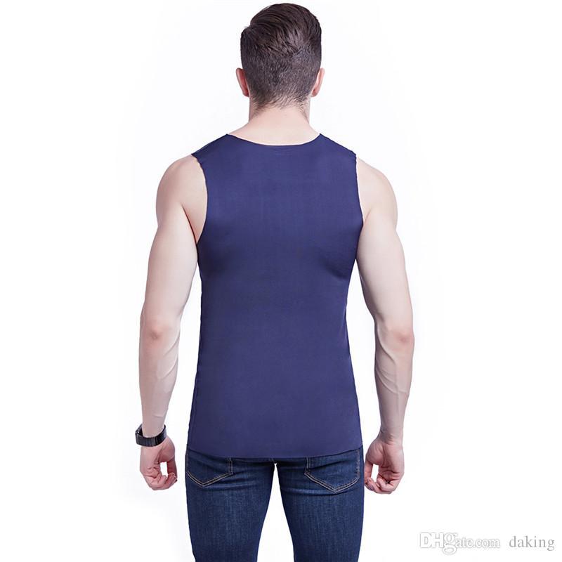 Verão Men Vest Ice Silk Modal respirável Chiffon fina Regatas Elastic magro sem mangas V pescoço vinho cor sólida branco Ativo Admirável Strong
