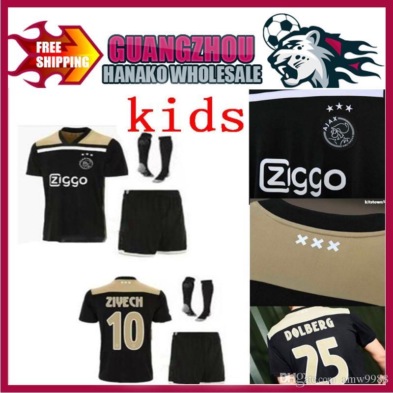 hot sales bc60a 17284 Ajax Youth Short-sleeved Suit Football Shirt 18/19 Ajax Football Jerseys  Away Jersey 2018 Custom # 10 KLAASSEN # 34 NOURI Soccer Jersey