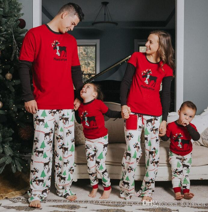 2018 amazon wish europe and the united states in autumn and winter new family clothes pajamas christmas tree parents and childrens cloth mom and baby