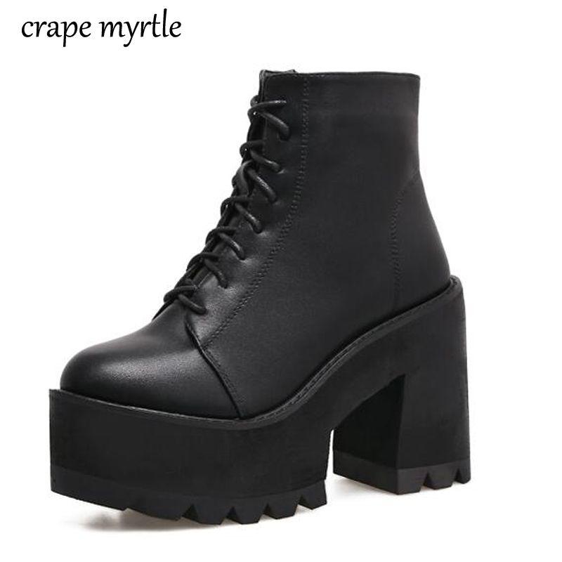 52ccdb996f8 Compre Botines Con Cordones 2018 Moda Botines De Tacón Grueso Mujeres  Tacones Altos Zapatos De Mujer Otoño Invierno Negro Plataforma Zapatos  YMA62 A $49.42 ...