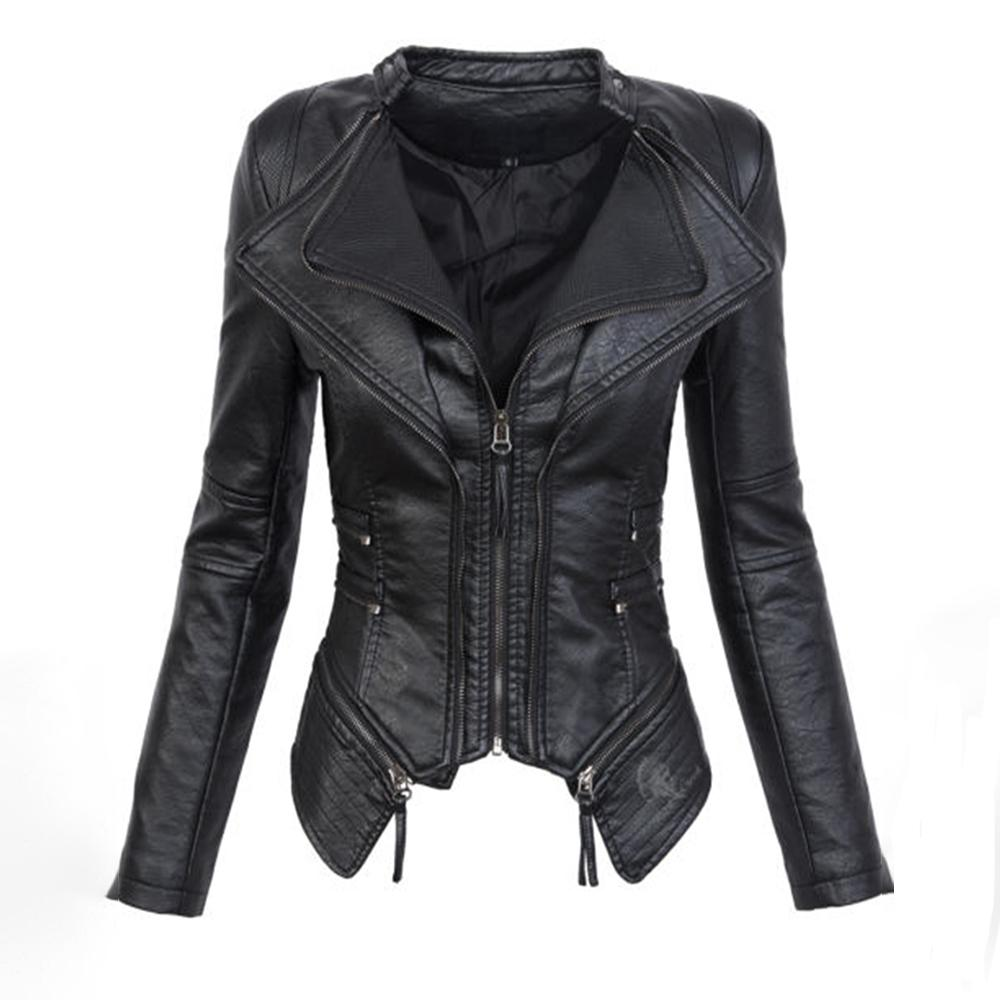 2378b179d61 Black Gothic Faux Leather PU Jacket Women Winter Autumn Fashion Motorcycle  Jacket Coat Punk Zipper Outerwear Plus Size Fall Coat Leather   Suede Cheap  ...