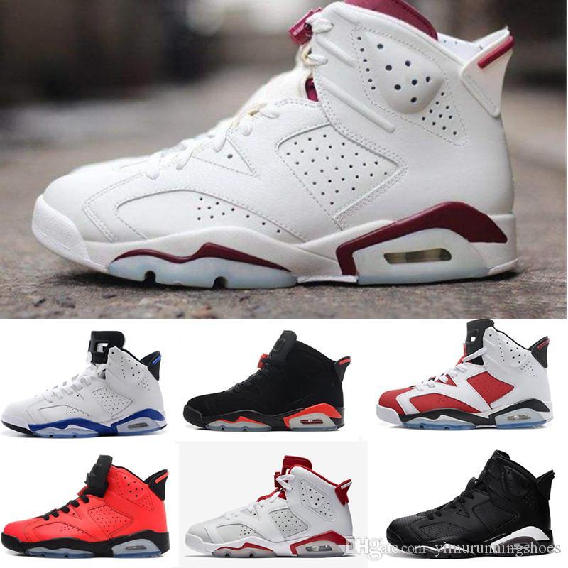 premium selection c5d79 46e4a Compre Nike Air Jordan Aj6 1 4 5 6 11 12 13 6 Carmine Basquete Sapatos  Clássico 6s UNC Preto Azul Branco Infravermelho Baixo Cromo Mulheres Homens  Esporte ...