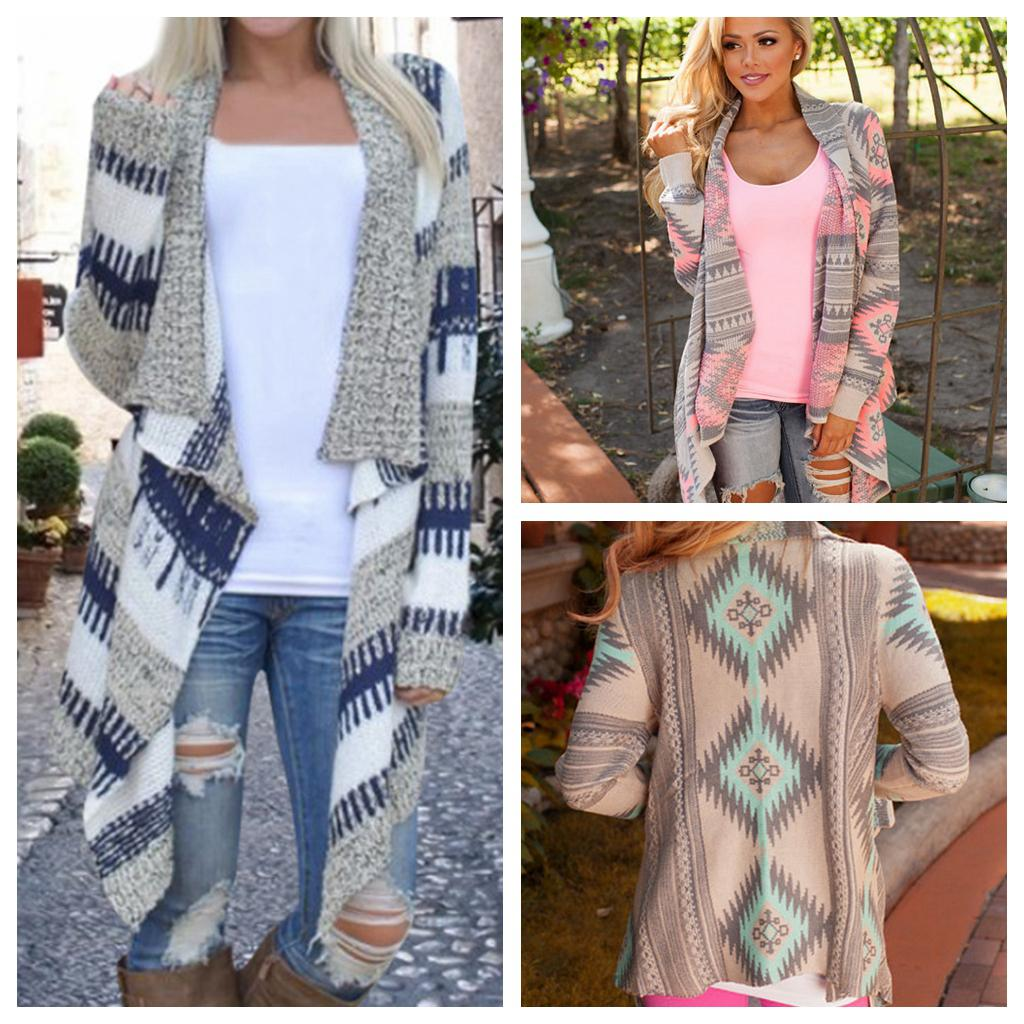 0d7f222114ba Women Casual Knitted Cardigan Sweater Coats Asymmetric Open Stitch Design  Geometric Printed Jackets Long Shirt Full Size Cape Hot NNA839 Brown  Leather ...