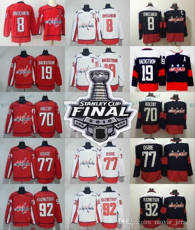 38e63a8f1 2019 2018 Stanley Cup Finals Hockey Washington Capitals 8 Alex Ovechkin  Backstrom Braden Holtby Tom Wilson Evgeny Kuznetsov Men Women Kids S 3XL  From ...