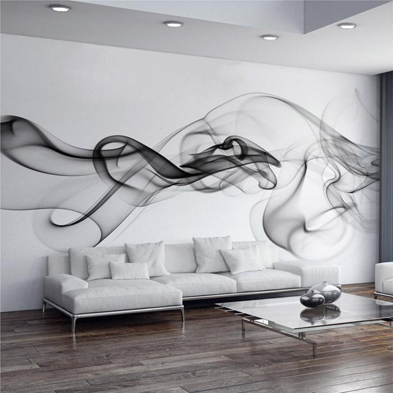 Wallpaper Modern 3d Wall Mural Black White Smoke Fog Art Design Bedroom Office Living Room Paper Free Animated