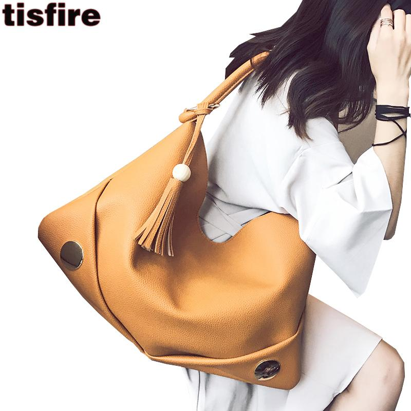 Tisfire brand women hobos bag leisure leather handbags solid shoulder bags 2017 big shopper bag with tassel simple ladies tote
