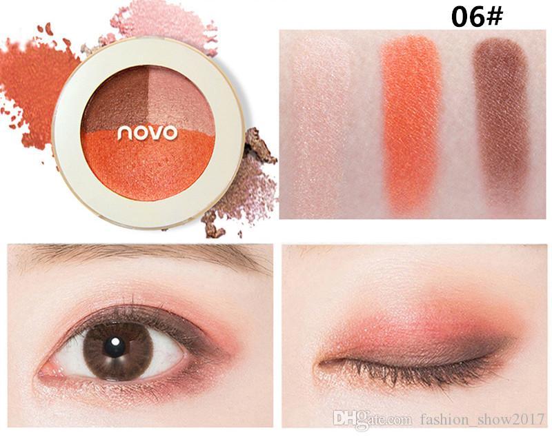 NOVO палитра теней для век мокрой или сухой 3 цвета матовая палитра теней для век мерцание красоты макияж косметические тени для век палитра