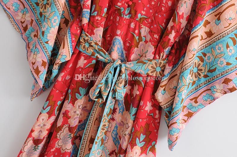 boho Red vestidos de praia mulheres New Chic floral impresso maxi Kimono vestido estilo Batwing manga Primavera Férias de verão boêmio Sashes vestido