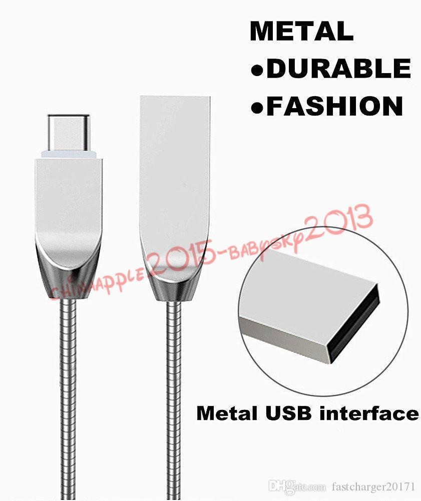 câble USB en alliage de zinc rapide Câble de charge Type 2A c Câble USB micro en acier inoxydable pour Samsung s6 s7 bord s8 note 8 htc