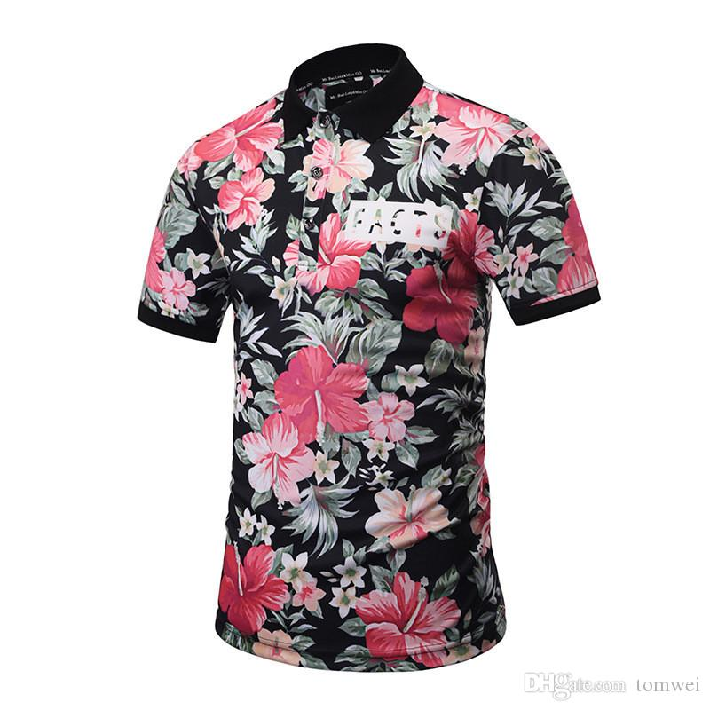 28afd78a 2019 T Shirts For Mens Flower Printed Tees Polos Summer Clothing ...