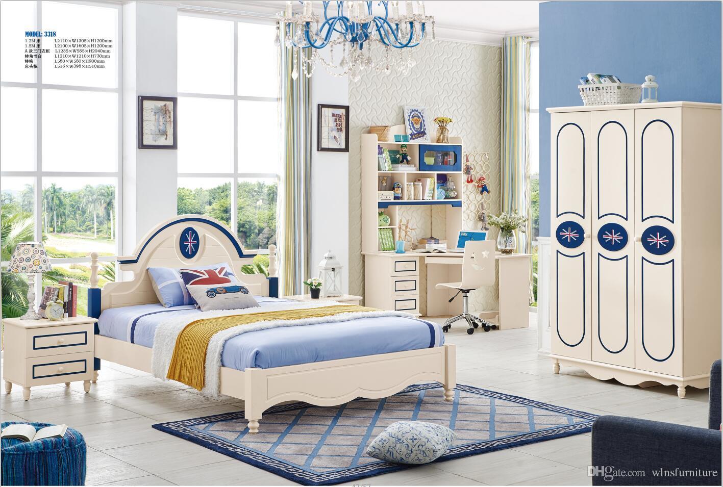 Mobili da letto camera da letto per bambini in legno massello di frassino  set moda moderna per bambini letto armadio scrivania comodino
