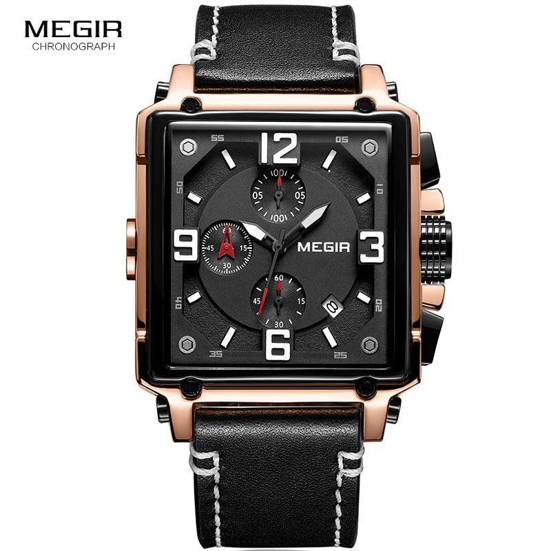e71b92f9992 Compre Megir Pulseira De Couro Exército Cronógrafo De Quartzo Relógios De  Pulso Dos Homens Quadrados Esportes Cronômetro Relógio Homem Relogios  Masculino ...