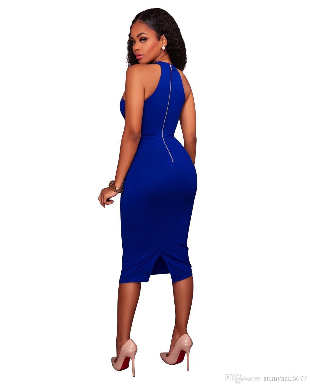 Codice standard delle donne Abiti tinta unita Abito professionale Gonna con alette Sexy Slim aderente Piombo Abiti da festa Mini Abiti senza maniche Q20