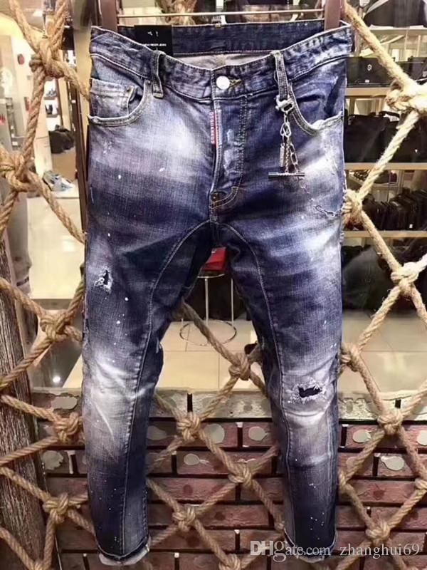 457b5037f1f New Italian Fashion Brand Men s Jeans Patch Locomotive Slim Feet ...