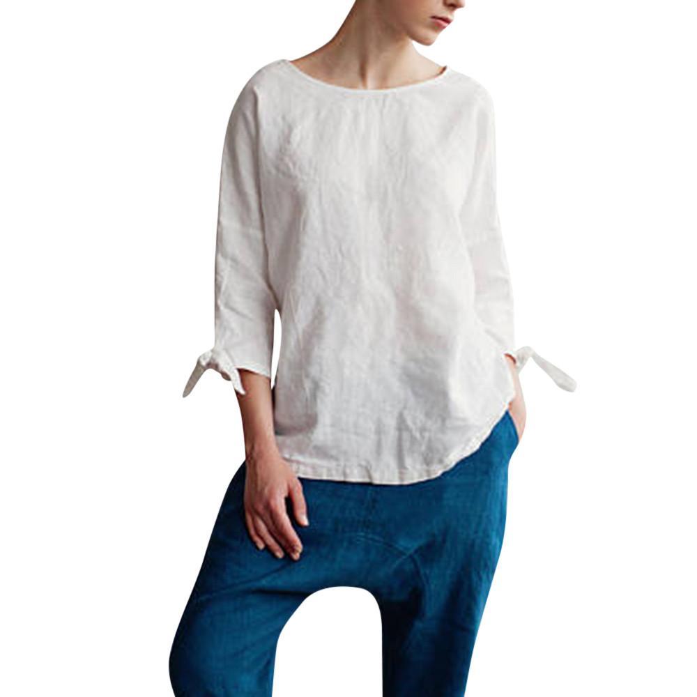 aa1e73b6b1567e Feitong 2018 New Arrival Clothing Women Casual Kimono O Neck Cotton Linen  Top With Tie Sleeve Loose Tunic High Quality Elegant Funny Tee Shirt Buy T  Shirt ...