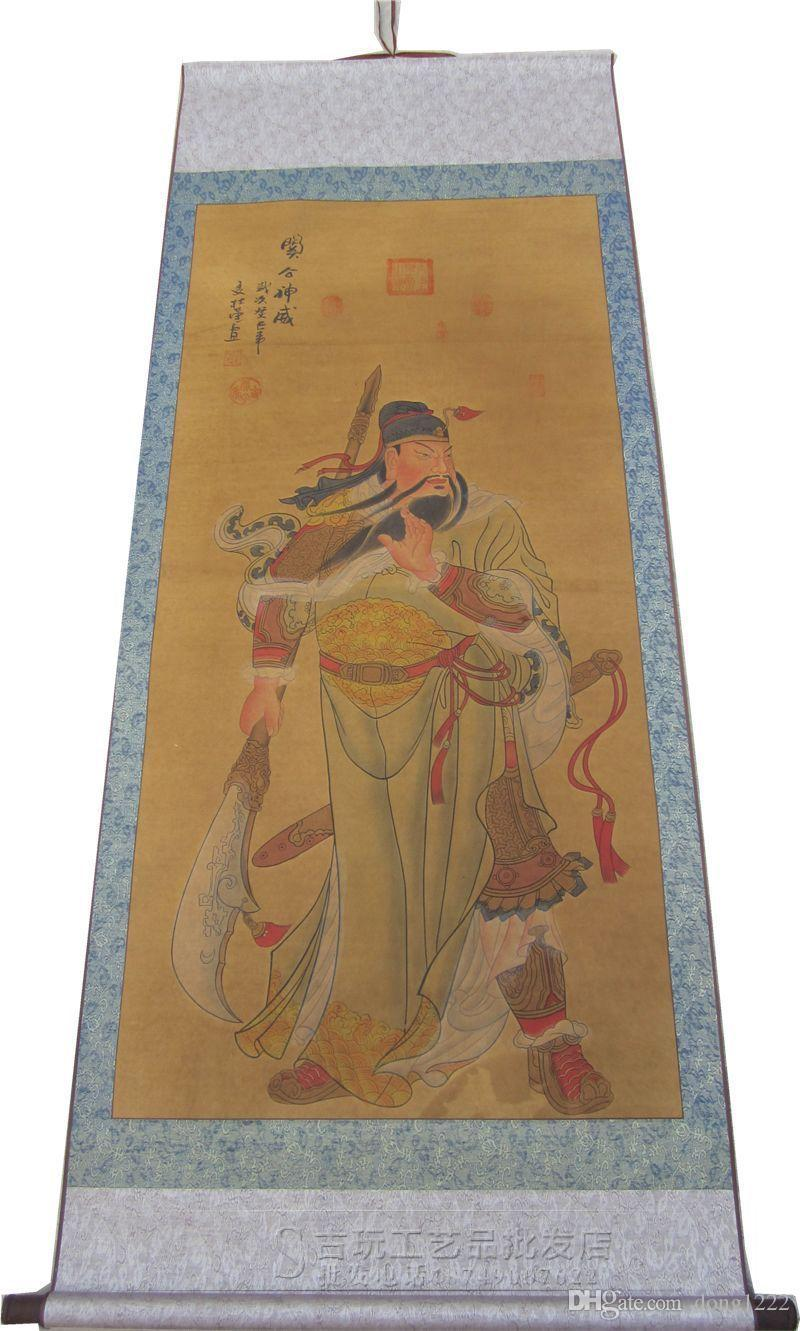 Chinese Portrait hanging scroll painting living room decorative Guan Figure