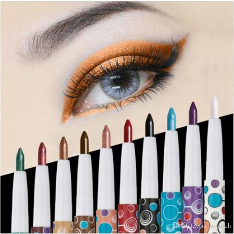 Eye Shadow Stick Long Lasting Shimmer Beauty Makeup Eyeliner Pen 10 Colors Glitter Lip liner Eye Shadow Pencil Cosmetic free shipping