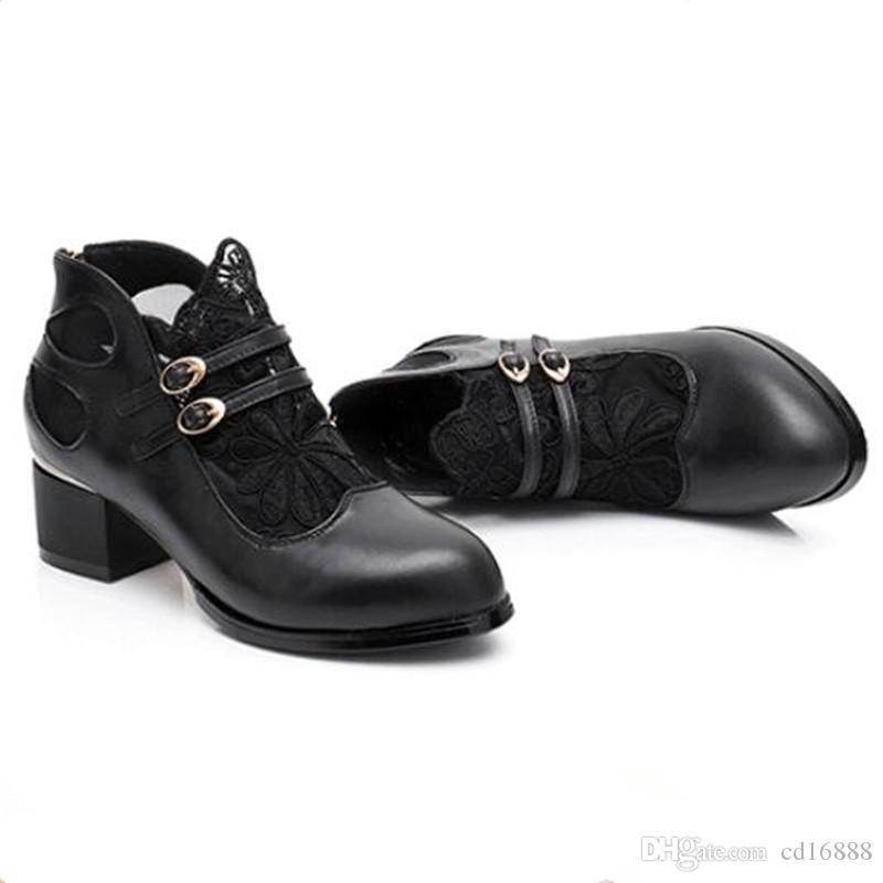 Caliente 2021 NUEVO Malla de encaje Zapatos de cuero genuino Mujer Botas de verano Sandalias de verano Tacones gruesos Tallas de verano Sandalias Sandalias Sandalias Zapatos de moda