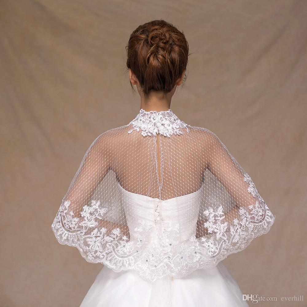 JaneVini Beaded High Neck Bridal Shawl Lace Bolero Summer Bride Shawls Evening Dresses Cape White Mesh Wedding Jacket 2018 High Quality