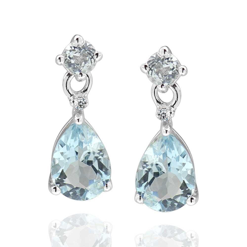 9e71ca6d0201 Compre Pendientes De Lágrima En Forma De Diamante De Topacio Azul Cielo De  Plata De Ley 925 2.5Ct A  110.26 Del Chuancai