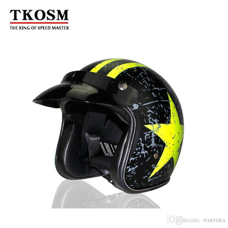 TKOSM Motorcycle Helmet Retro Vintage Cruiser Chopper Scooter Cafe Racer Moto 3 4 Open Face Half Online