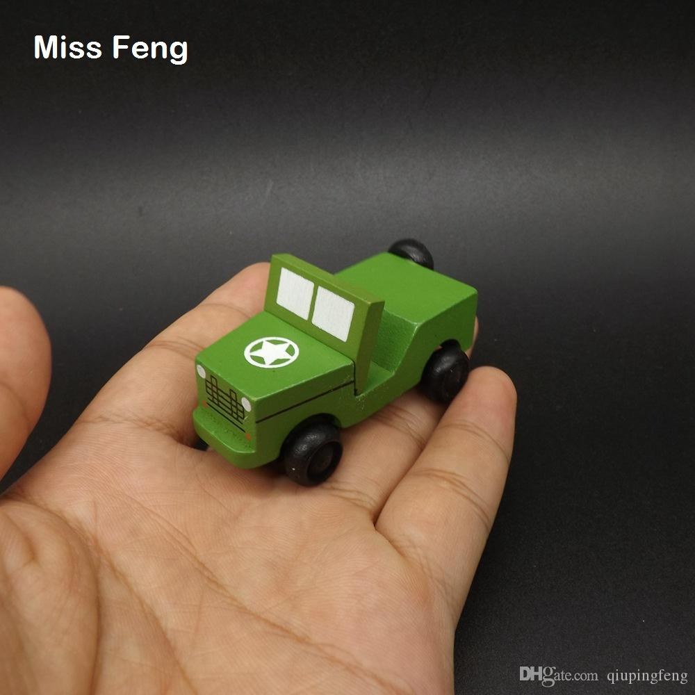 2019 Children Mini Wooden Car Model Boys Toys Kids Military Jeep