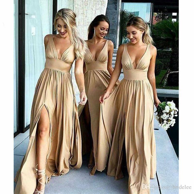 2099e1dd19a3 2019 Excellent Wedding Party Dress Champagne Bridesmaid Dress Long ...